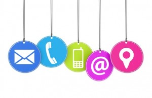 Website and Internet contact page concept with icons on colorful hanged tags isolated on white background.